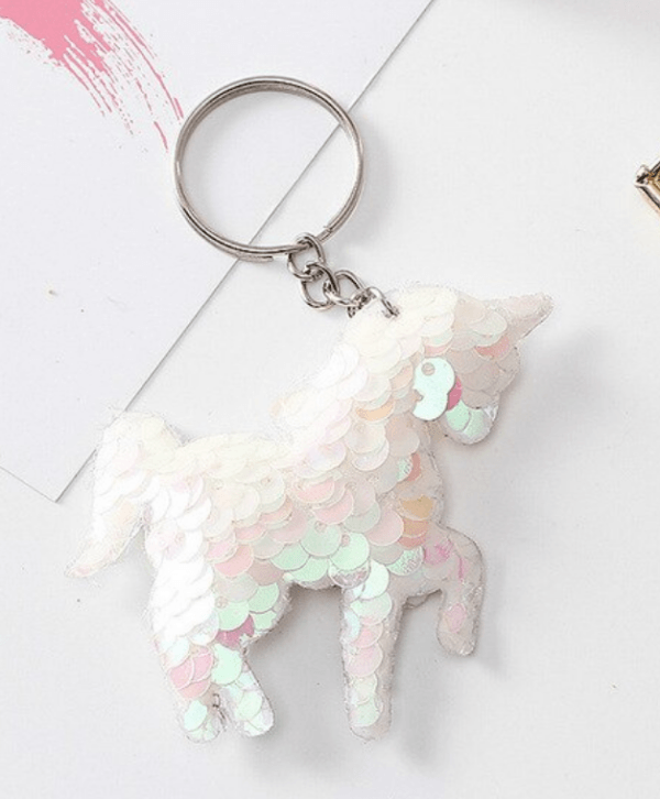 Unicorn Keyring white