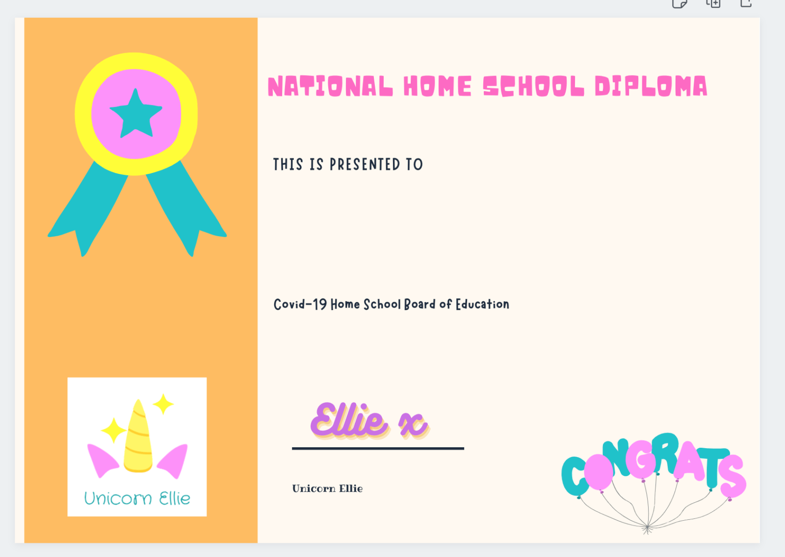 unicorn ellie home school